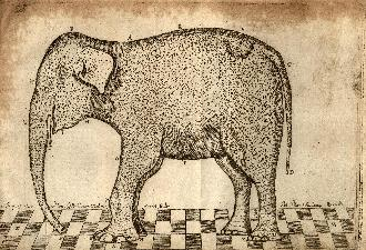 The Elephant of Dundee, with its clothes on, as engraved by Gilbert Orum- click to view full-size